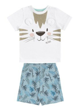 conjunto camiseta e bermuda bebe masculino tigre branco alakazoo 33113