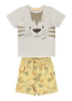 conjunto camiseta e bermuda bebe masculino tigre mescla alakazoo 33113
