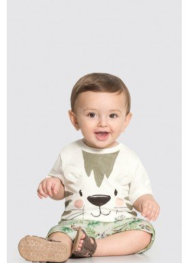 conjunto camiseta e bermuda bebe masculino tigre offwhite alakazoo 33113 1