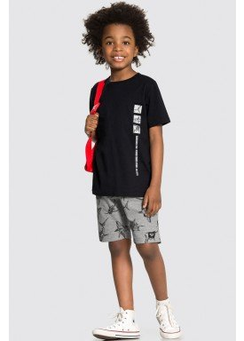 conjunto camiseta e bermuda infantil juvenil masculino dangerous zone preto alakazoo 34016 1