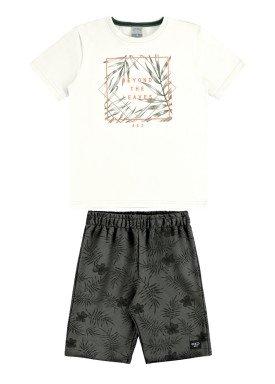 conjunto camiseta e bermuda infantil juvenil masculino leaves offwhite alakazoo 34014