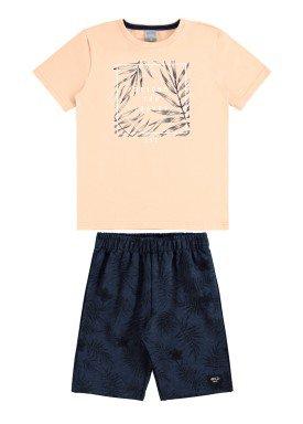 conjunto camiseta e bermuda infantil juvenil masculino leaves salmao alakazoo 34014
