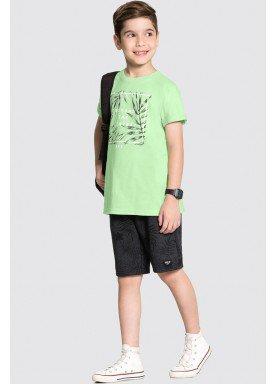 conjunto camiseta e bermuda infantil juvenil masculino leaves verde alakazoo 34014 1