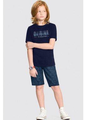 conjunto camiseta e bermuda infantil juvenil masculino original marinho alakazoo 34011 1