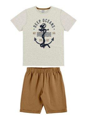 conjunto camiseta e bermuda infantil masculino deep oceans mescla alakazoo 34008