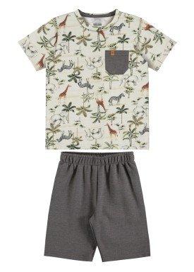 conjunto camiseta e bermuda infantil masculino safari offwhite alakazoo 34004
