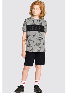 conjunto camiseta e bermuda infantil masculino shark mescla alakazoo 34005 1
