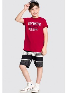 conjunto camiseta e bermuda infantil masculino white shark vermelho alakazoo 34003 1