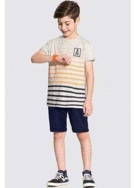 conjunto camiseta e bermuda juvenil masculino listras mescla alakazoo 34010 1