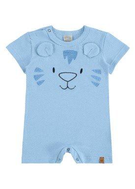 macacao curto malha favinho bebe masculino tigre azul alakazoo 33105