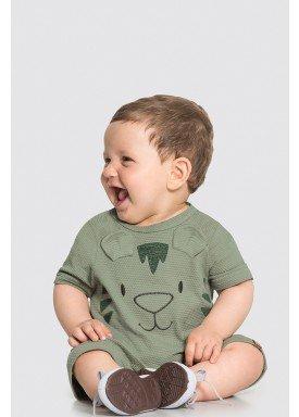 macacao curto malha favinho bebe masculino tigre verde alakazoo 33105 1