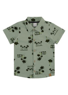 camisa meia malha infantil masculina tropical verde alakazoo 34673