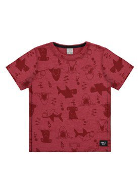 camiseta malha view flex infantil masculina sharks vermelho alakazoo 34671