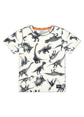 camiseta meia malha infantil masculina dinossauros offwhite alakazoo 34667