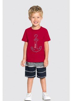 conjunto camiseta e bermuda infantil masculino ancora vermelho alakazoo 34680 1