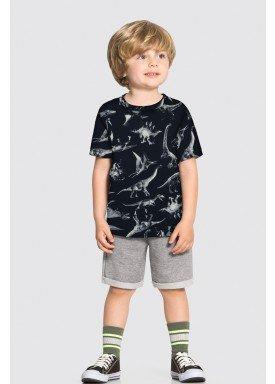 conjunto camiseta e bermuda infantil masculino dinossauros preto alakazoo 34684 1