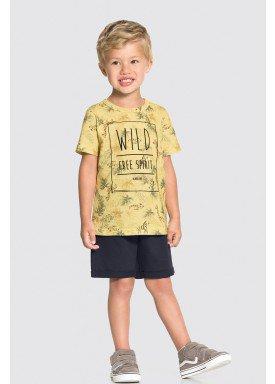 conjunto camiseta e bermuda infantil masculino free spirit amarelo alakazoo 34688 1