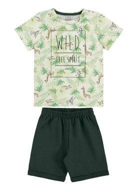 conjunto camiseta e bermuda infantil masculino free spirit offwhite alakazoo 34688