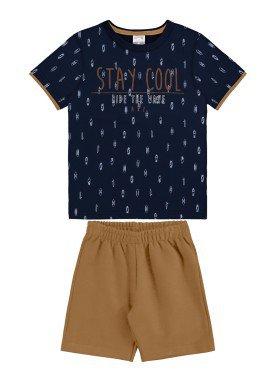 conjunto camiseta e bermuda infantil masculino stay cool marinho alakazoo 34683