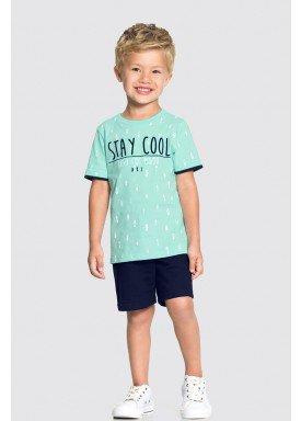 conjunto camiseta e bermuda infantil masculino stay cool verde alakazoo 34683 1