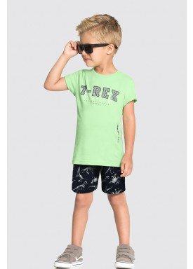 conjunto camiseta e bermuda infantil masculino trex wild verde alakazoo 34687 1