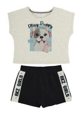 conjunto blusa e short infantil feminino puppy mescla alakazoo 34978