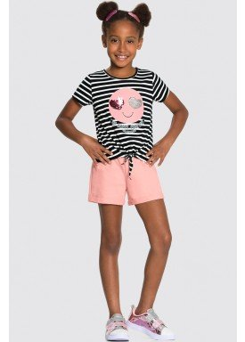 conjunto blusa e short infantil juvenil feminino happy forever preto alakazoo 34980 1