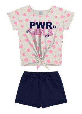 conjunto blusa e short juvenil feminino pwr girls mescla alakazoo 34979
