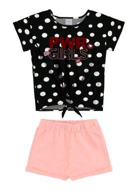 conjunto blusa e short juvenil feminino pwr girls preto alakazoo 34979