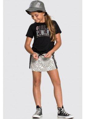 conjunto blusa e short saia infantil feminino girl power preto alakazoo 34987 1
