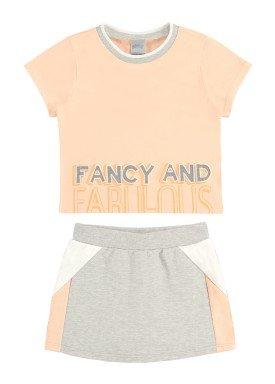 conjunto blusa e short saia juvenil feminino fabulous salmao alakazoo 34988