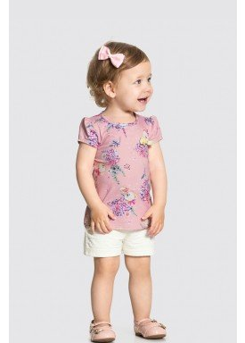 conjunto blusa e short bebe feminino floral rosa alakazoo 34948 1