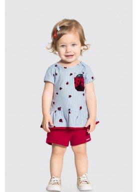 conjunto blusa e short bebe feminino joaninha azul alakazoo 34949 1
