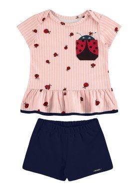 conjunto blusa e short bebe feminino joaninha salmao alakazoo 34949