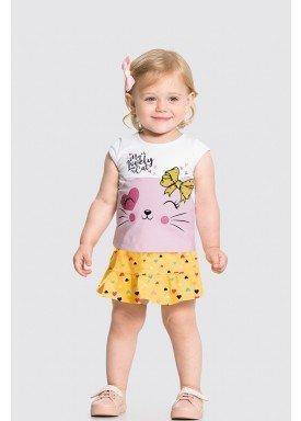 conjunto blusa e short saia bebe feminino lovely cat branco alakazoo 34946 1