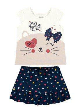 conjunto blusa e short saia bebe feminino lovely cat offwhite alakazoo 34946