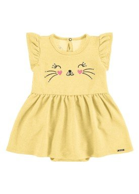 vestido body bebe feminino gatinha amarelo alakazoo 34961