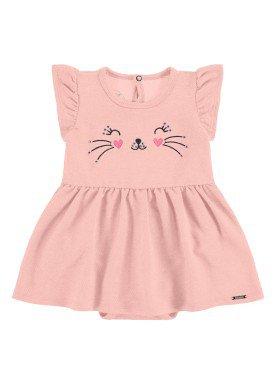 vestido body bebe feminino gatinha salmao alakazoo 34961