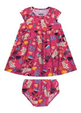 vestido com calcinha bebe feminino estampado rosa alakazoo 34963
