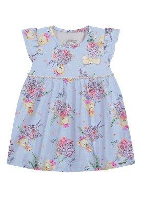 vestido malha modelli bebe feminino floral azul alakazoo 34957