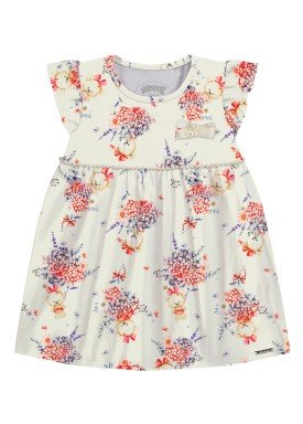 vestido malha modelli bebe feminino floral offwhite alakazoo 34957