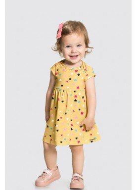 vestido meia malha bebe feminino coracoes amarelo alakazoo 34956 1