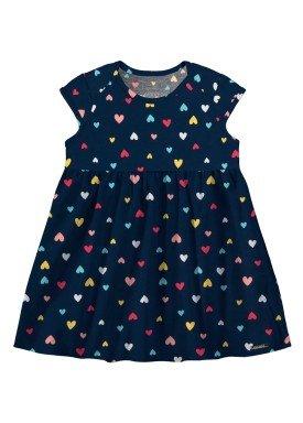 vestido meia malha bebe feminino coracoes marinho alakazoo 34956