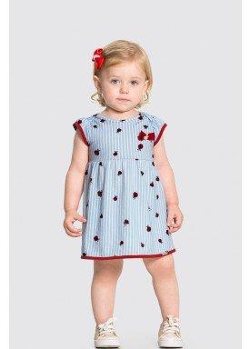 vestido meia malha bebe feminino joaninhas azul alakazoo 34953 1
