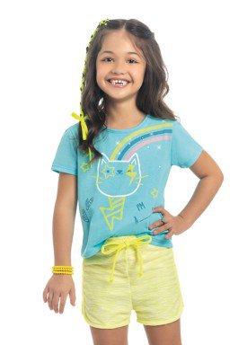 blusa meia malha infantil feminino cat azul kamylus 10324