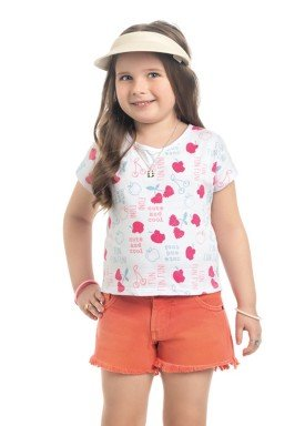 blusa meia malha infantil feminino fun fun branco kamylus 10330