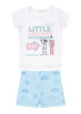 conjunto blusa e short bebe feminino little explorer branco kamylus 10251