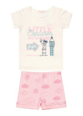 conjunto blusa e short bebe feminino little explorer offwhite kamylus 10251