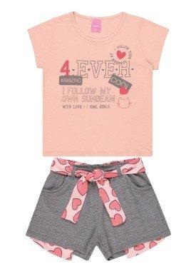 conjunto blusa e short infantil feminino 4ever salmao kamylus 10306