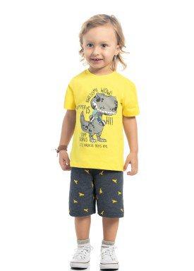 conjunto camiseta e bermuda infantil masculino surf saurus amarelo kamylus 12129